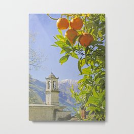 Oranges, Blue Sky, and Mountains in Northern Italy Metal Print