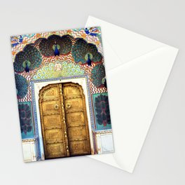 India Palace Ornate Gold Doorway with Peacocks Photograph Stationery Cards