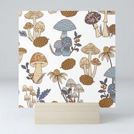 Mushroom Medley in Blue and Rust Mini Art Print