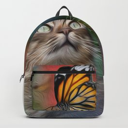 Cat playing with butterfly Backpack