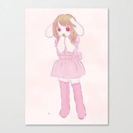 lop ear rabbit girl Canvas Print