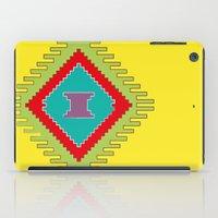 kilim iPad Cases featuring Persian Kilim - Yellow Background by Katayoon Photography & Design