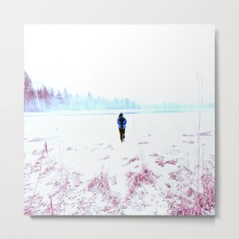 Alone In The Winter's Silent Nature Metal Print