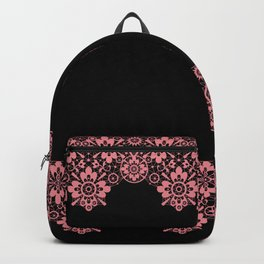 Retro .Vintage . Pink lace on a black background . Backpack