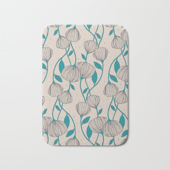 Blue Stem Flowers Bath Mat