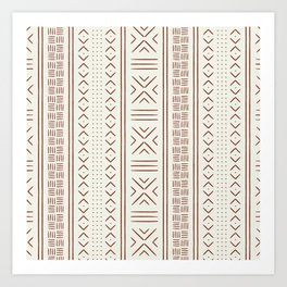 rust on bone mud cloth Art Print