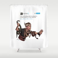 liam payne Shower Curtains featuring Snakes on a Payne by pygmy