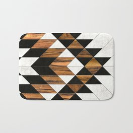Urban Tribal Pattern 9 - Aztec - Concrete and Wood Bath Mat
