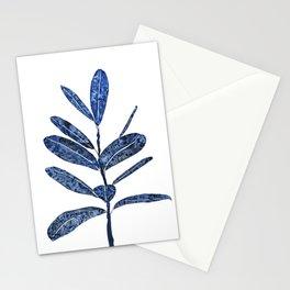 indigo ficus leaf watercolor Stationery Cards
