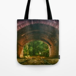 Railroad Track Through The Tunnel Tote Bag