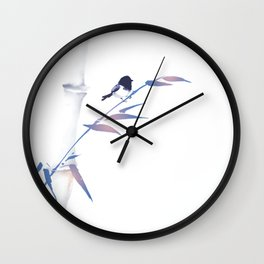 Blue bamboo tree and little bird hand drawn with ink in minimalist style on white background. Wall Clock