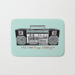 Stereo type Nonconforming | Casette Player | Radio | Hand-drawn Stereo Bath Mat