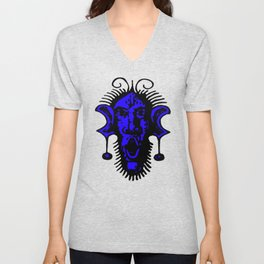 Blue Fierce Primal Tribal Mask, Wild Mask, Super Smooth Super Sharp 13500px x 10125px PNG Unisex V-Neck