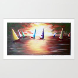 Sunset Sails in Acrylic Art Print