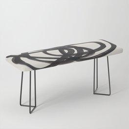 Mid Century Modern Minimalist Abstract Art Brush Strokes Black & White Ink Art Spiral Circles Bench