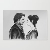 outlander Canvas Prints featuring Jamie and Claire ~ Outlander by Helenfaerieart