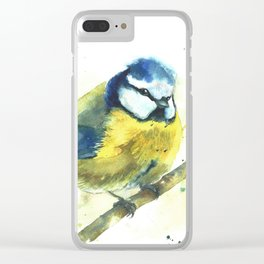 Watercolor titmouse bird Clear iPhone Case