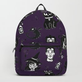 Purple Witches, Cauldron and Cats Pattern Backpack