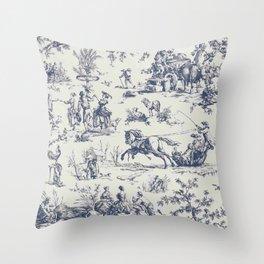Blue Toile de Jouy Throw Pillow