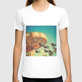 Vintage Chain Swing Ride on Blue Sky  T-shirt
