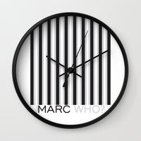 marc johns Wall Clocks featuring Marc Who? Illustration by Muneera B