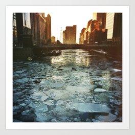 Ice Under the Wabash Avenue Bridge - Chicago, Illinois Art Print