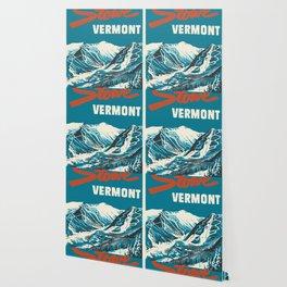 Stowe, Vermont Vintage Ski Poster Wallpaper