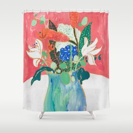 Bouquet of Flowers in Alexandrite Inspired Vase against Salmon Wall Shower Curtain