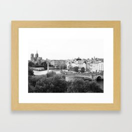 Paris in Black and White, Notre Dame and Les Iles Framed Art Print