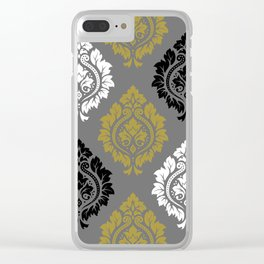 Decorative Damask Pattern BW Gray Gold Clear iPhone Case