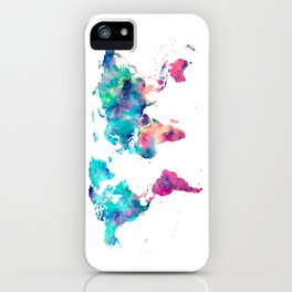 World Map Turquoise Pink Blue Green iPhone Case