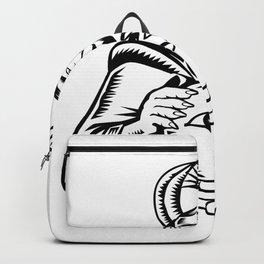 Fortune Teller Eye on Crystall Ball Woodcut Backpack