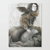 inner demons Canvas Prints featuring Demons by Jana Heidersdorf Illustration