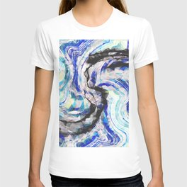 psychedelic geometric polygon pattern abstract in blue yellow black T-shirt