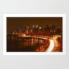 New York City Night Skyline. Art Print