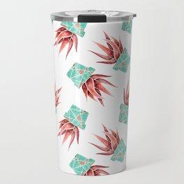 Aloe Vera Plant, Geometric, Coral, Mint, Rose Gold Travel Mug