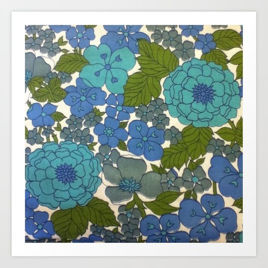 Retro floral sheet blues Art Print