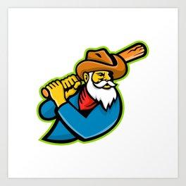 Miner Baseball Player Mascot Art Print