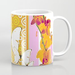 White Butterflies Orchid Sprays Purple Lilac-Gold Patterns Coffee Mug