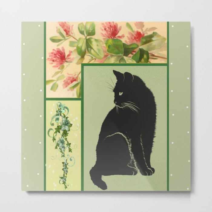 Patchwork Flowers and Cat Metal Print