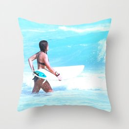 Girl Surfing Throw Pillow