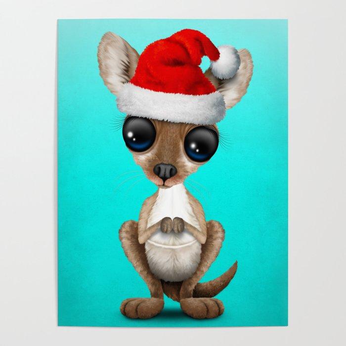 Christmas Kangaroo Cartoon.Christmas Kangaroo Wearing A Santa Hat Poster By Jeffbartels