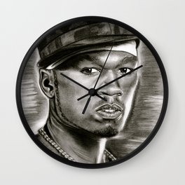 50 Cent in Black and White Wall Clock