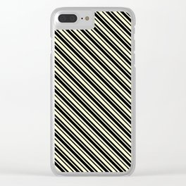 Cream Yellow and Black Diagonal LTR Var Size Stripes Clear iPhone Case