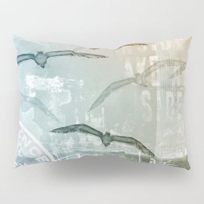 Free Like A Bird Seagull Mixed Media Art Pillow Sham