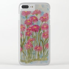 Asters Acrylic Floral Painting by Rosie Foshee for wall decor, and to share by stationary & stickers Clear iPhone Case