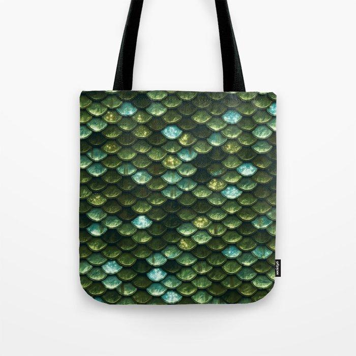 Aqua and green sparkling mermaid glitter scales- Mermaid Scales Tote Bag