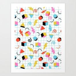 Clutch - memphis 80s style retro throwback cubes geometric triangles 1980's pattern Art Print