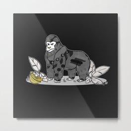 Gorilla & Bananas,Funny Wild Animal Graphic,Black & White with Brass Gold Metallic Accent Cartoon Metal Print
