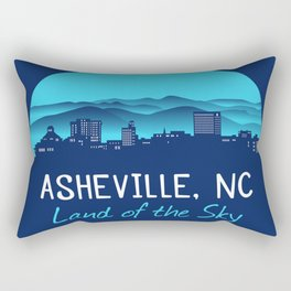 Asheville Cityscape - Land of the Sky - AVL 7 Blue Gradient Rectangular Pillow